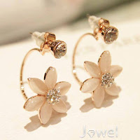 New Arrival Natural Opal Fashion Flower Style Cute Lady's Earrings
