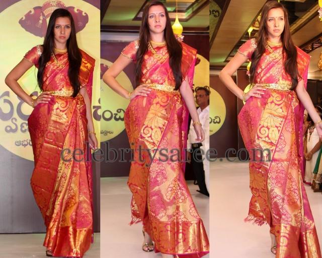 Model in Tomato Red Wedding Sari