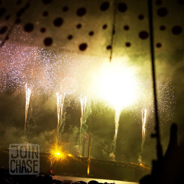 Busan International Fireworks Festival off Gwangalli Bridge in Busan, South Korea.