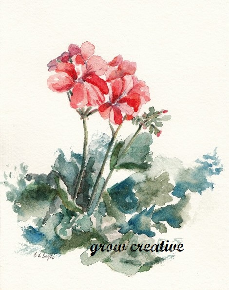 pink and red geraniums painting