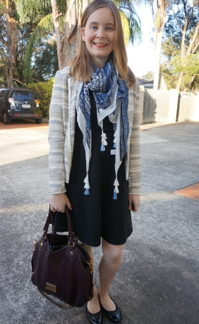 Away From Blue | Spring Office wear LBD fit and flare jacquard blazer printed scarf flats