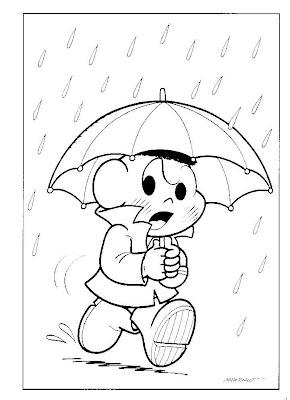 Desenhos para Colorir da Turma da Mônica - Cascão com Guarda-Chuva