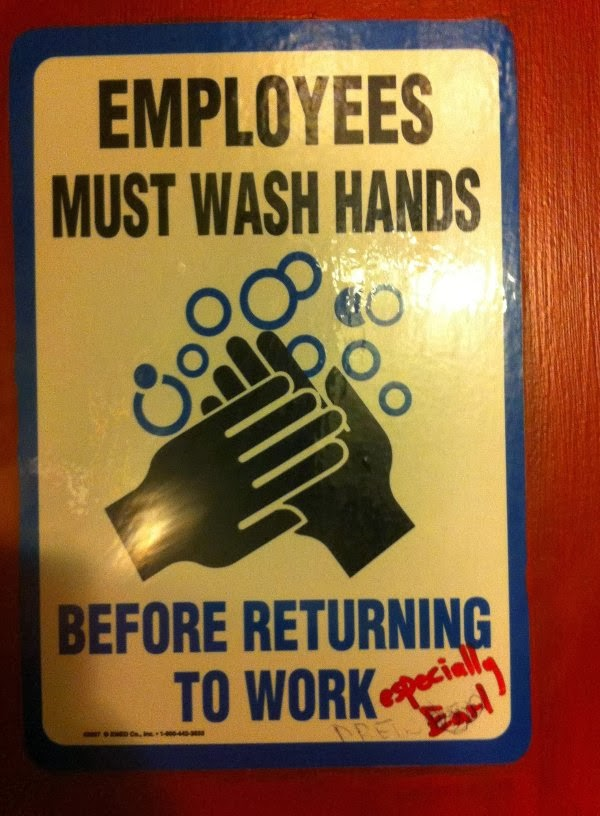 employee must wash hands especially earl, funny hacked sign