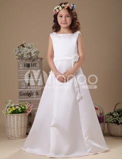 Tour de taille White Flower A-ligne de satin robe de première communion