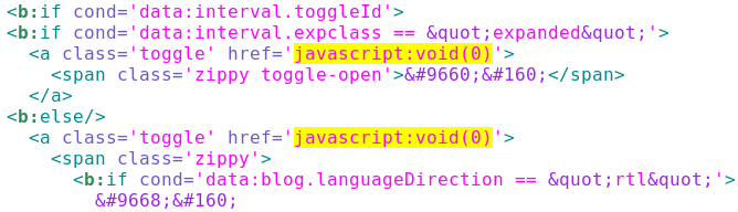 Blogspot, remove unnecessary hyperlinks created by JavaScript Void (0)