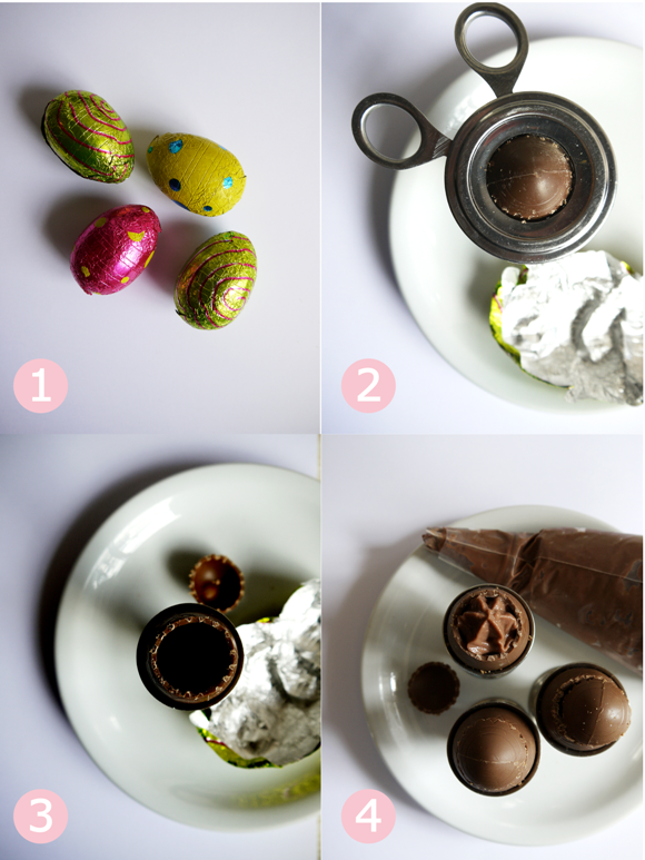Easter Chocolate Mousse Dessert served in Chocolate Egg Shells Recipe