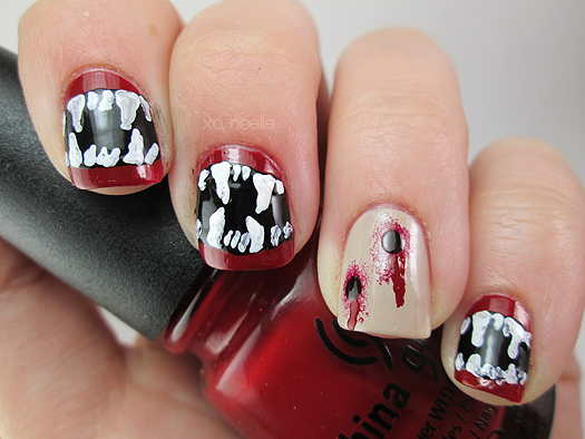 Xo noelle beauty lifestyle blog 8 spooky nights nail art i used missjenfabulous vampire fangs nail tutorial and i also used a tutorial on youtube for the puncture holes but naturally i cant find it now prinsesfo Choice Image