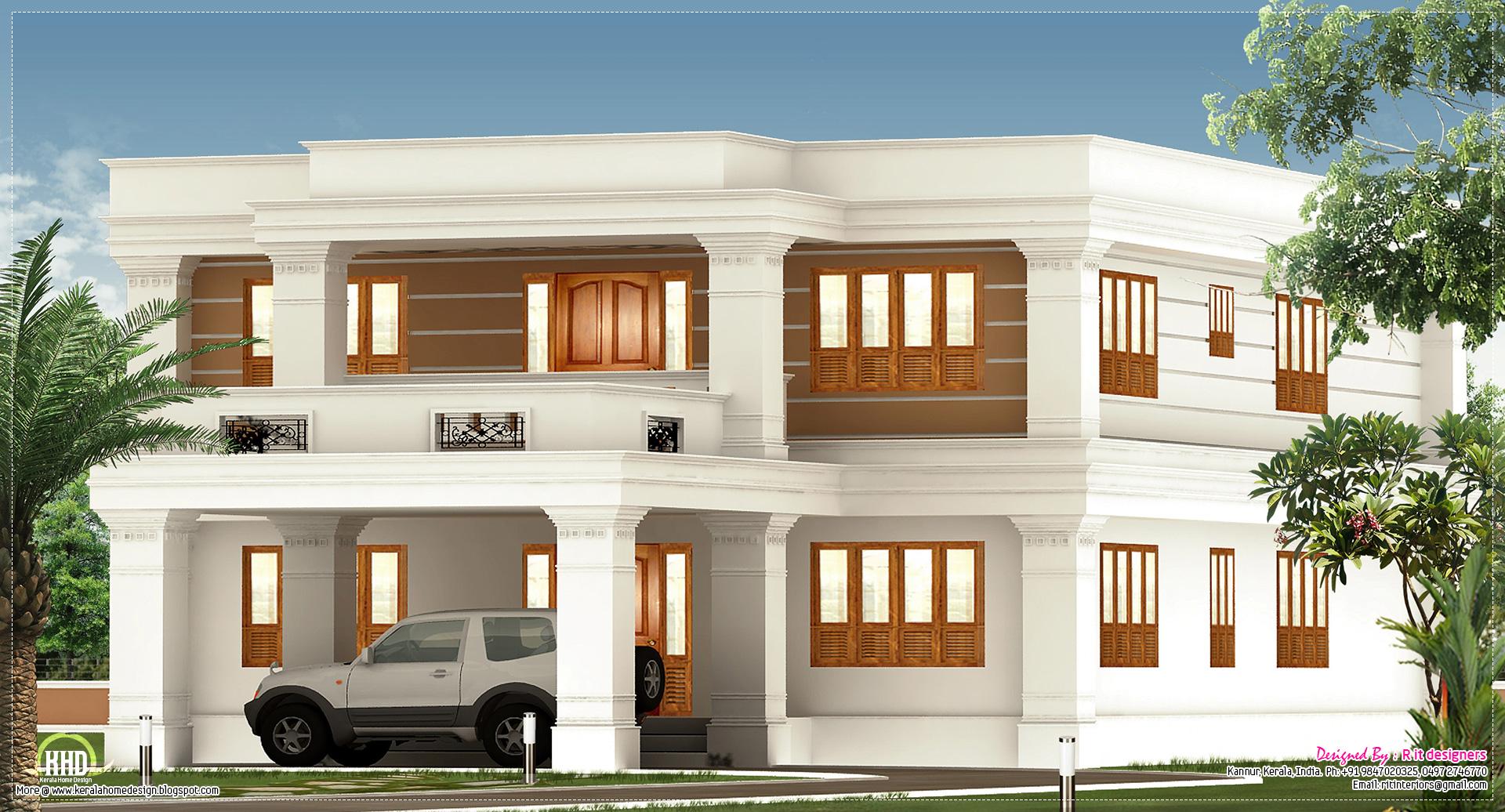 2800 Sqfeet Flat Roof Villa Exterior Kerala Home Design