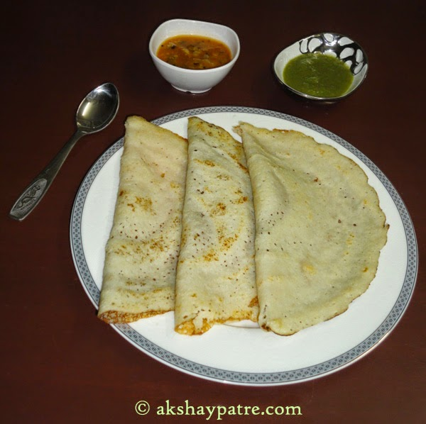 rava dosa ready to serve.