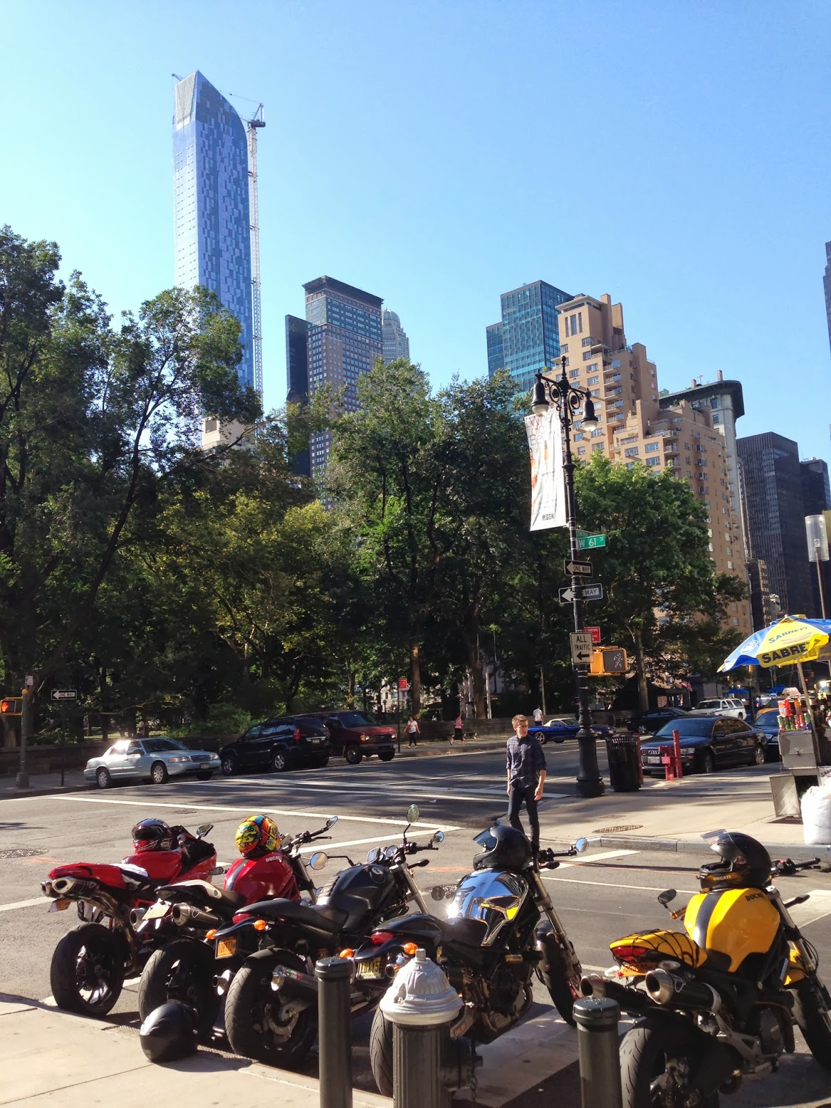 Tigho NYDucati:  DOCNYC rolls out from Central Park, six Ducati Monsters deep, with an 848EVO and a 2013 Multistrada.