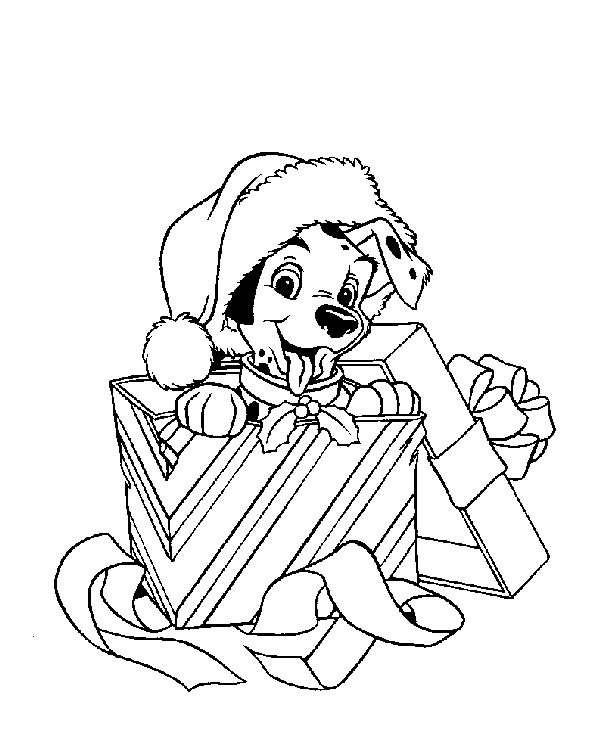 Here is a Christmas coloring page featuring one of the puppies from  title=
