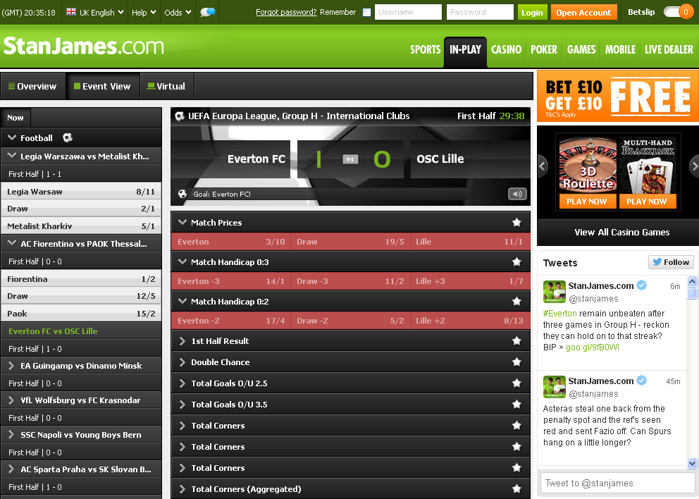 StanJames In-Play Betting Screen