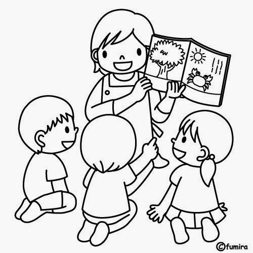 Dibujos de Niños estudiando para colorear - Para niños