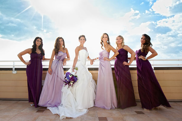 purple wedding photos for bridesmaids