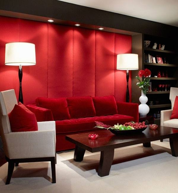 Blue yellow green and red living room design ideas for Red wallpaper designs for living room