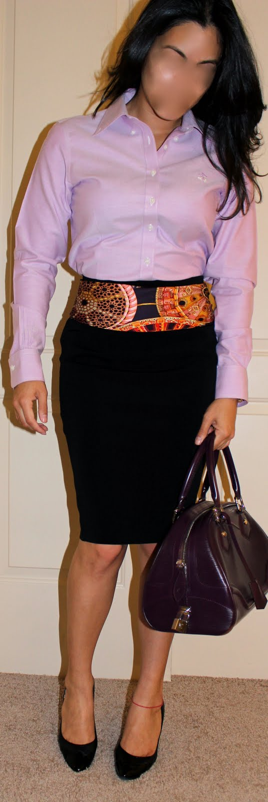 Ann Taylor skirt, Brooks Brothers No-Iron Top, Hermes scarf, Louis Vuitton Bag