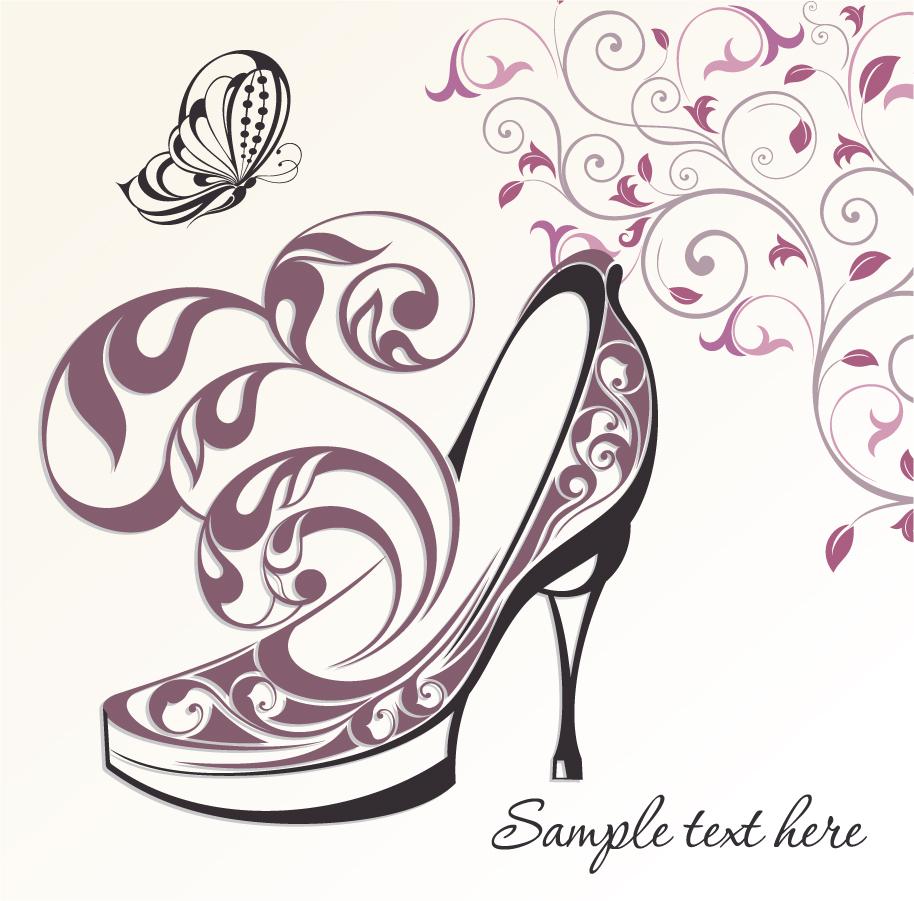 植物柄のハイヒールの背景 hand painted floral high heels background イラスト素材
