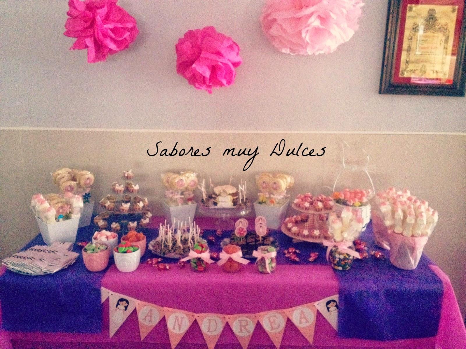 Sabores muy dulces mesa dulce y tarta de comuni n para andrea for Mesas dulces comunion nina