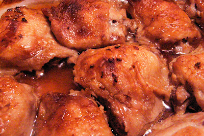 Golden Baked Chicken with Browned Ginger Bits