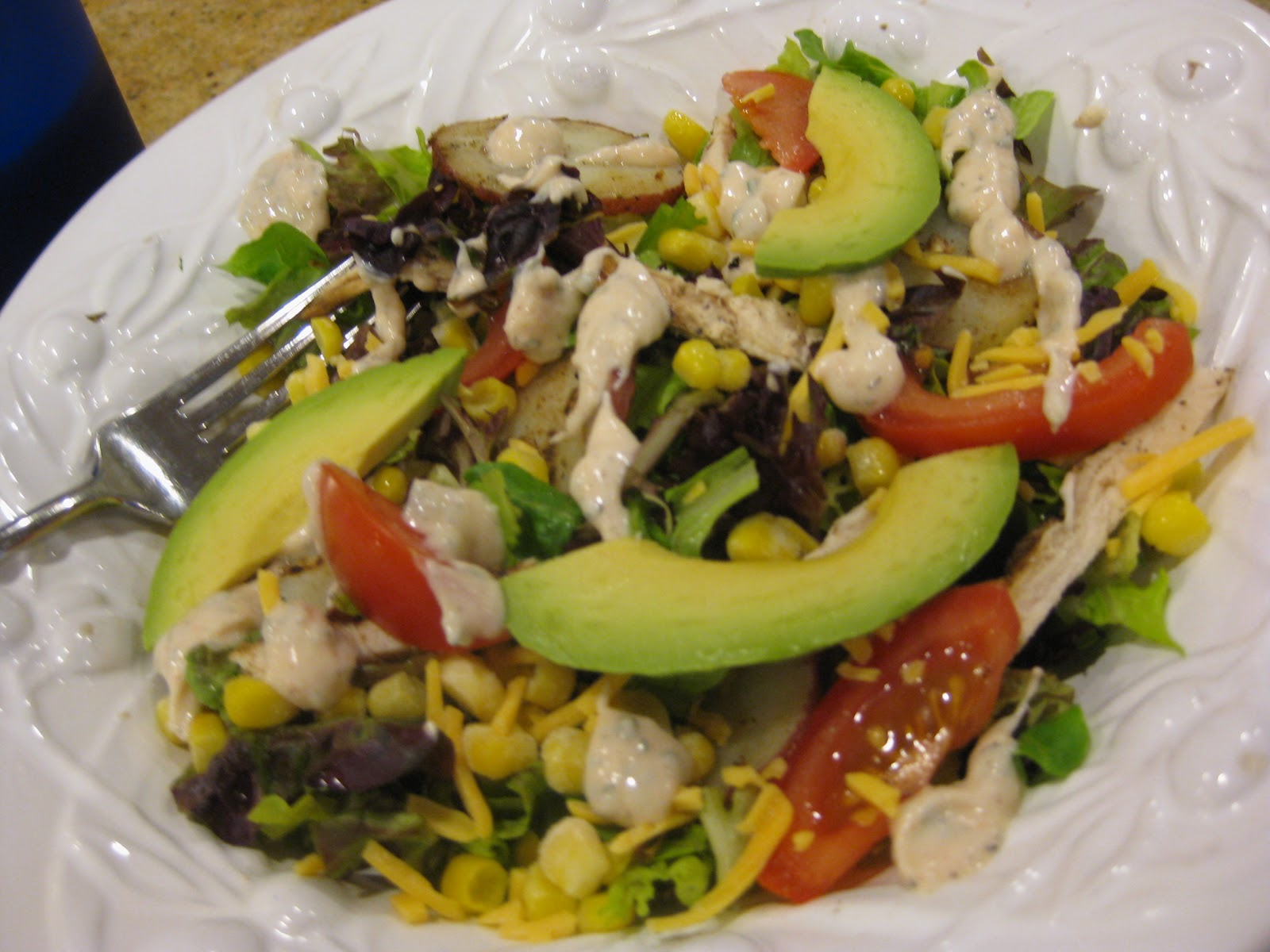 ... : Grilled Chicken, Corn & Avocado Salad with Chipotle Ranch Dressing