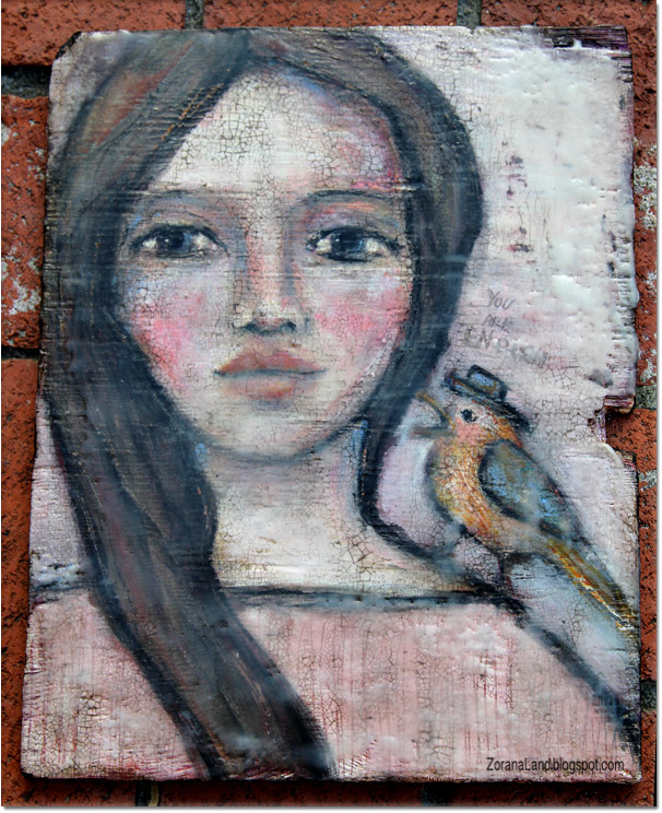 zorana zoranaland art painting encaustic bird portrait enough
