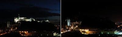 Castelo de Edimburgo, Escócia, durante a Hora do Planeta