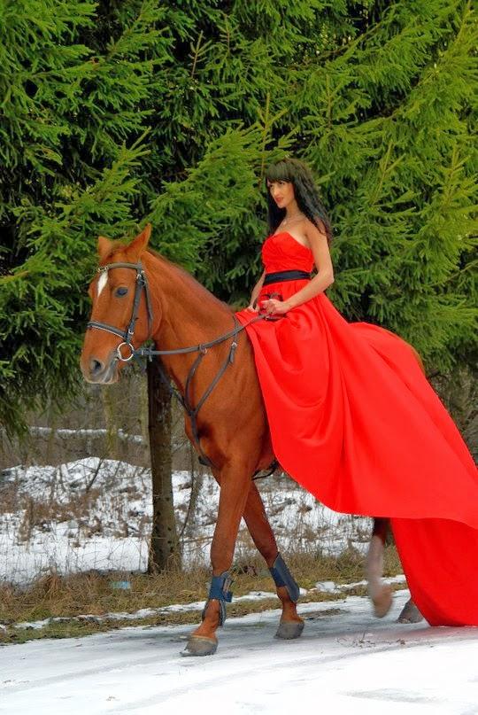 Фотосессия в платье на лошади 84