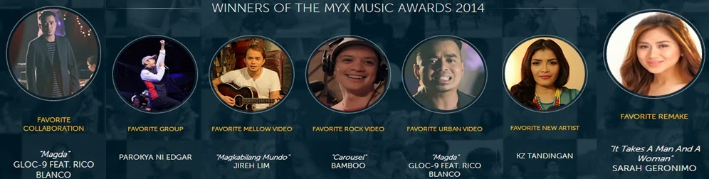 Sarah G and Gloc 9 win big at MYX Music Awards 2014