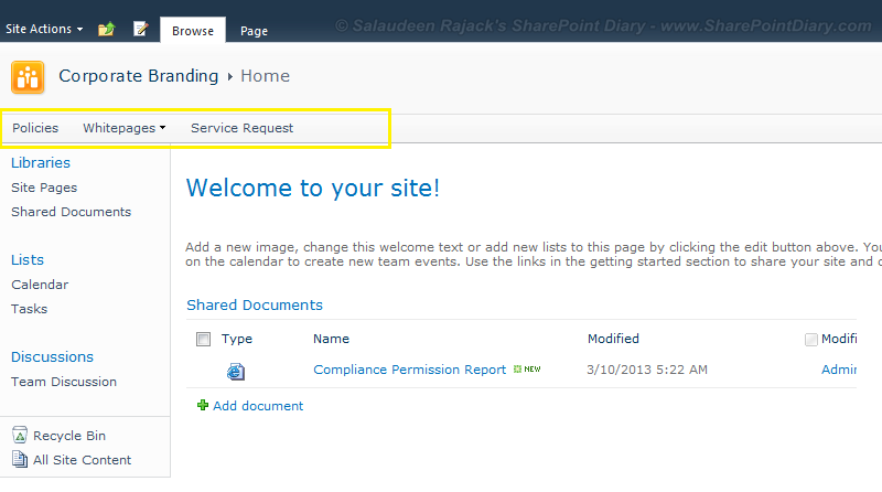 how to hide home tab in sharepoint 2010