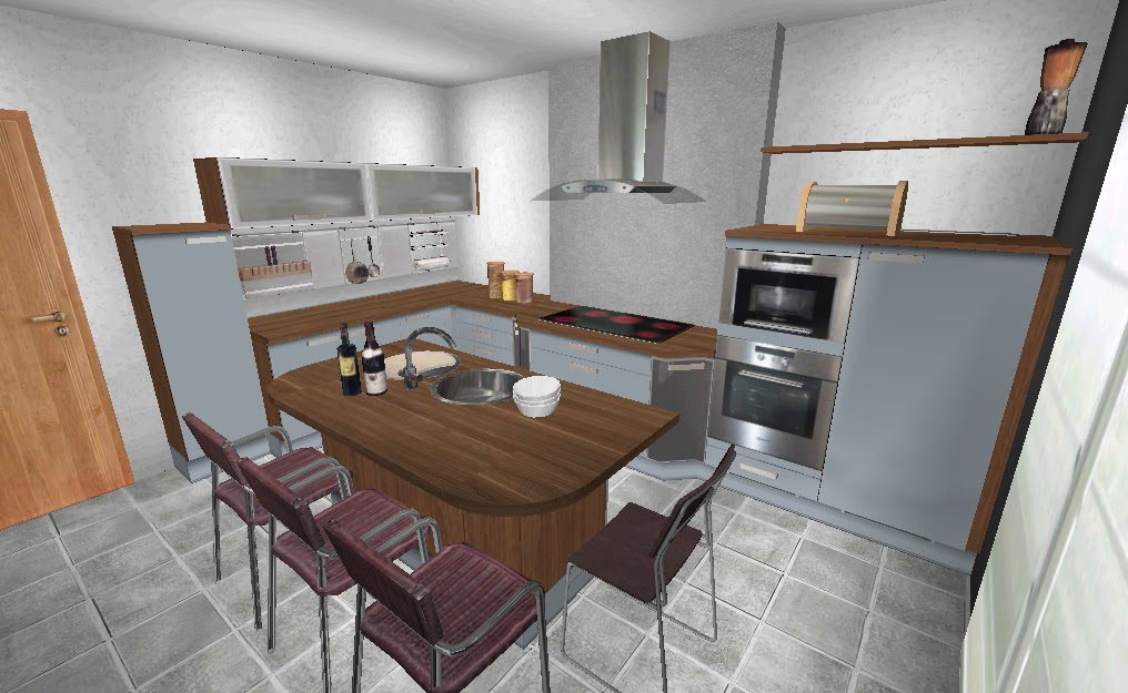 Beautiful plan cuisine moderne pictures amazing house for Plan de cuisine gratuit 3d