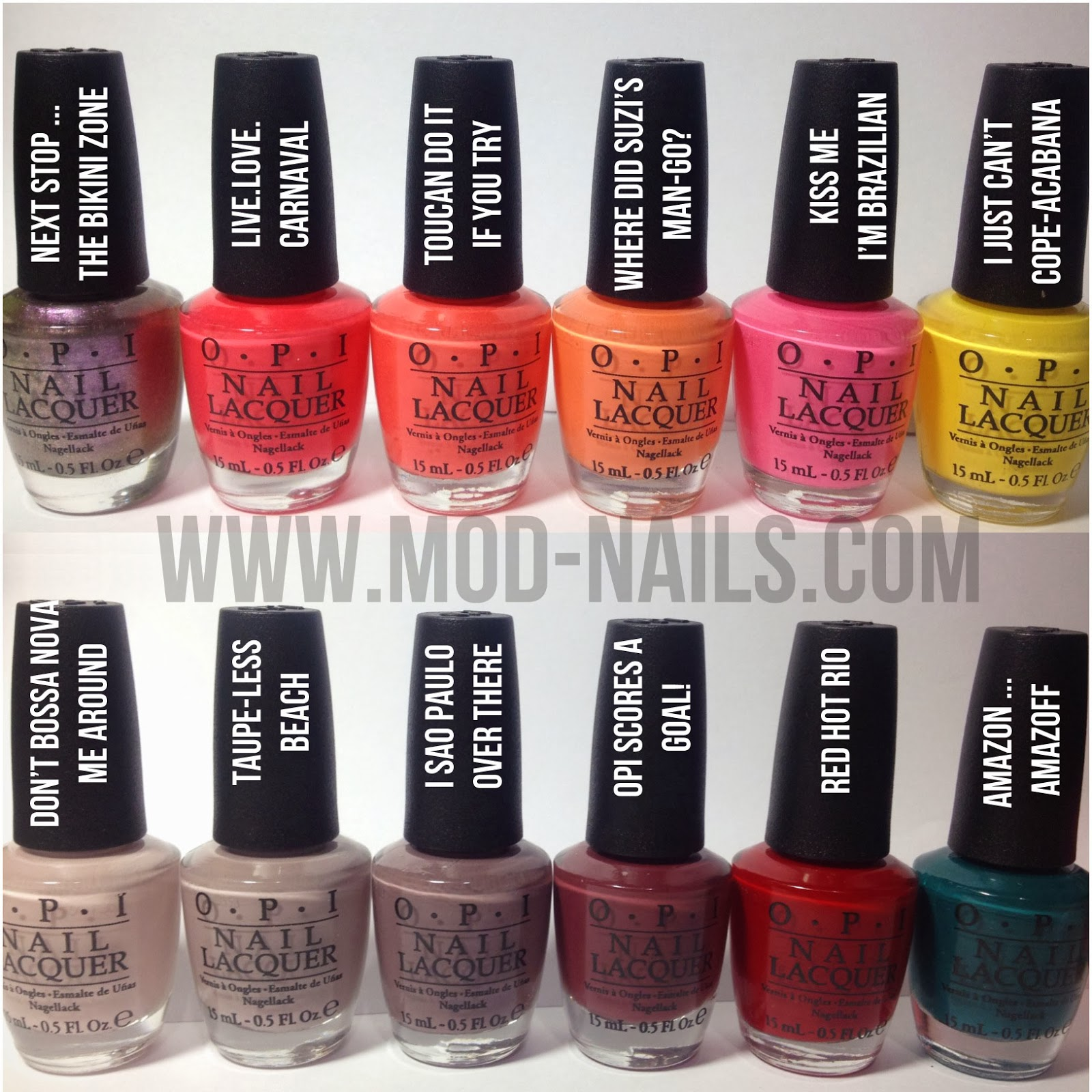 Modnails Opi Brazil 2014 Collection Swatches Review