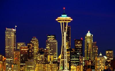 Seattle Skyline Cityscape Night View HD Desktop Wallpaper