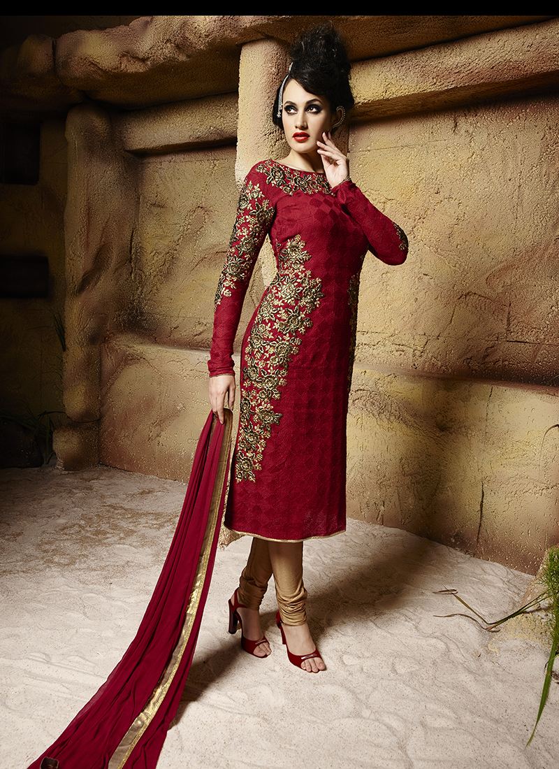 Beige Georgette Embroidered Work Designer Plazo Suit