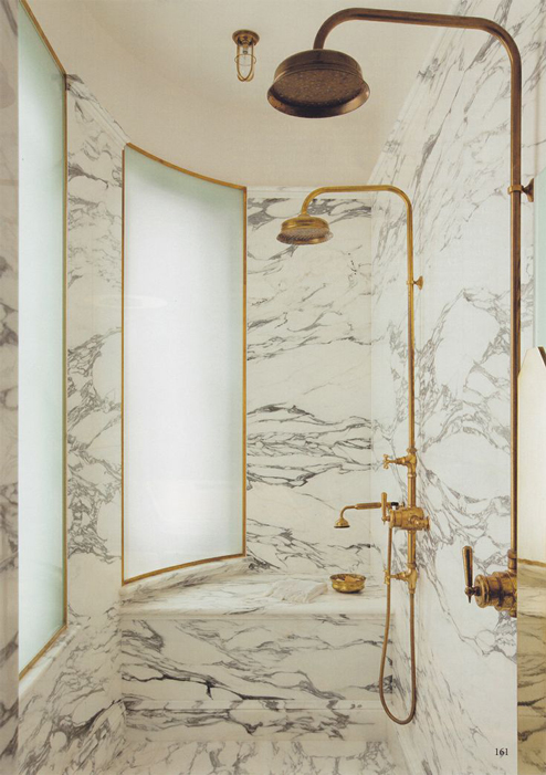 The deeply veined Arabescato marble combined with the rich  unlacquered brass here is nothing short of lustworthy  The delicate cut glass pendant lights add. The Peak of Tres Chic  Needing  Wanting  Loving  A Brass Bathroom