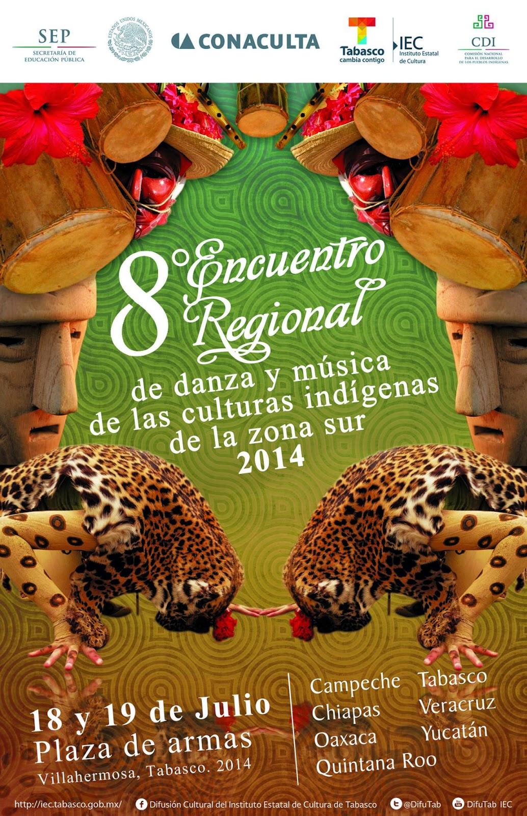 Octavo encuentro de musica y danzas indigenas de la region sur en Villarhermosa Tabasco