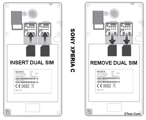 Sony Xperia C C2305 Insert dual SIM Card Slot Remove