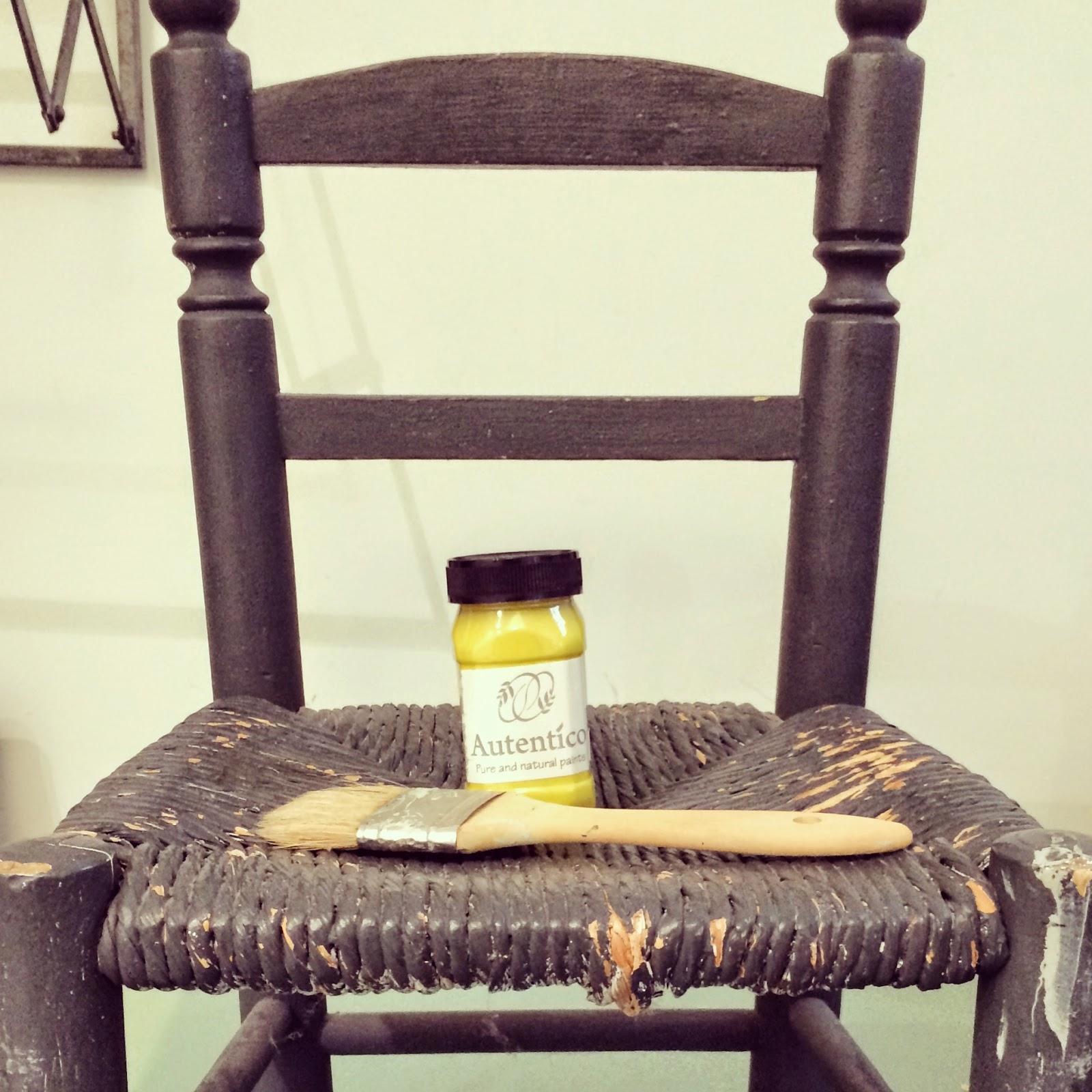 silla madera y mimbre original