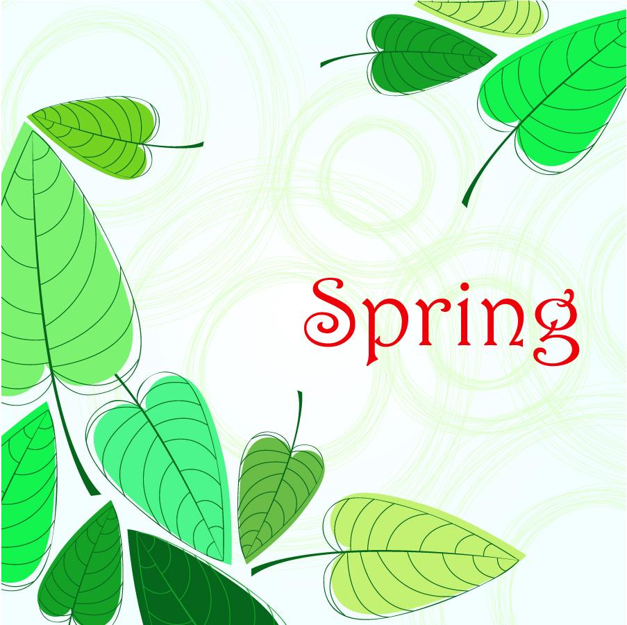 春の青葉の背景 green leaves spring background イラスト素材