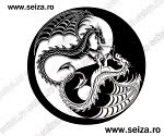 black and white tattoo / dragons tattoo / Yin Yang tattoo