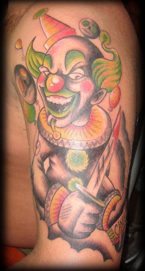 funny clown tattoos design part 3 3d tattoos images. Black Bedroom Furniture Sets. Home Design Ideas