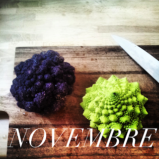 paris local seasonal produce november romanesco purple cauliflower