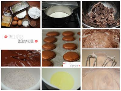 macarons au chocolat étapes