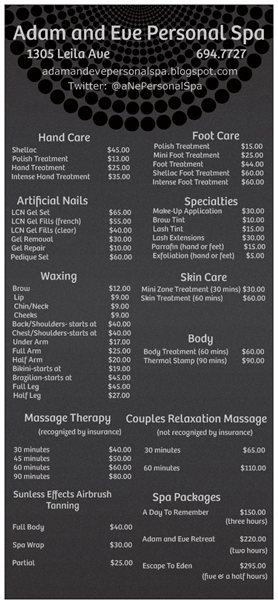adam and eve personal spa spa pricelist