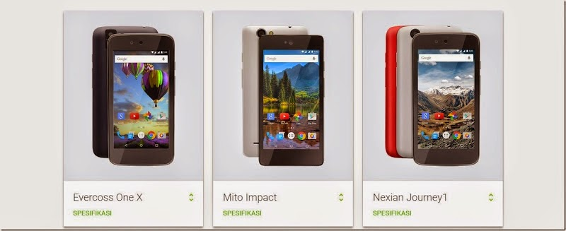 Android one Evercoss One X, Mito Impact, dan Nexian Journey1