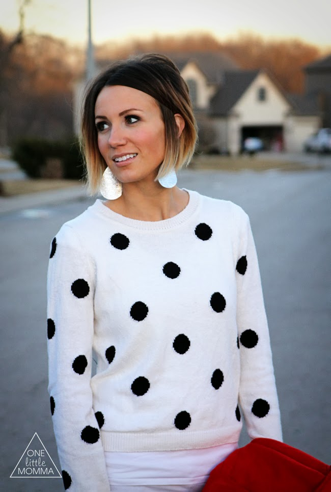 What I Wore - Red Coats and Polka Dot Sweaters - ONE little MOMMA