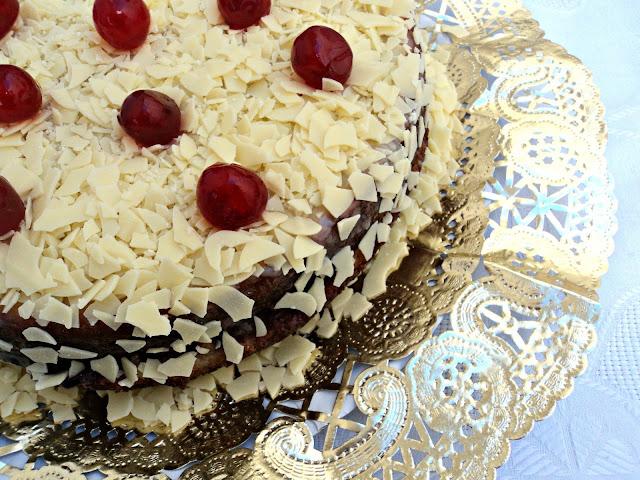 tarta, cerezas, vainilla, bizcocho, receta, casera, cumpleaños