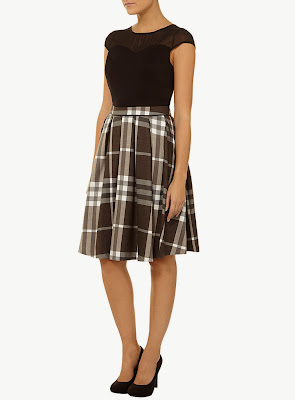 Dorothy Perkins Neutral Check Midi Skirt