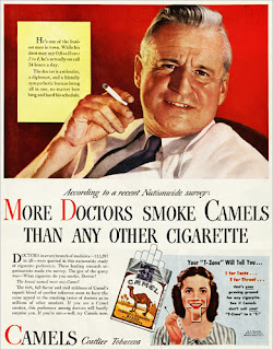 Historic Camel cigarette advertisement doctor promotes smoking More Doctors prefer Camels