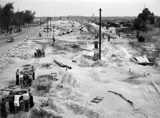 Baustelle Historisch, Blick vom S-Bf. Jungfernheide auf die Jungfernheide Brücke, 10589 Berlin, Juni 1953