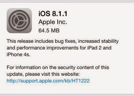 Apple gulirkan update iOS V8.1.1 via OTA